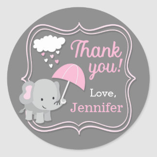 Baby Elephant Girl Thank You Baby Shower Tags