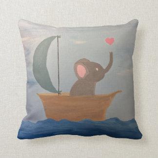 Baby Elephant in a Boat Cushion