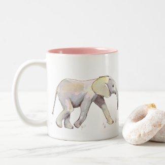 Baby Elephant in Pastel: Two-Tone Mug