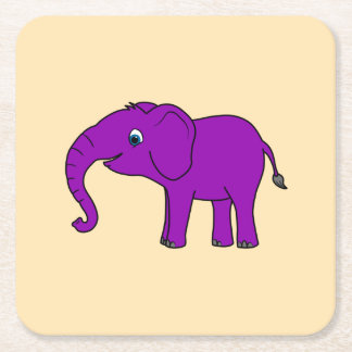 Baby Elephant in Purple Square Paper Coaster