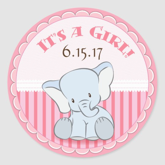 Baby Elephant It's a Girl Stickers