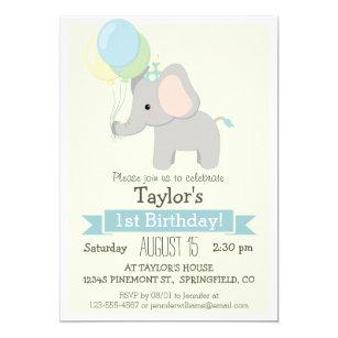 Baby Elephant Kids Birthday Party Invitation