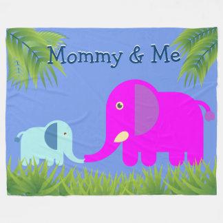 Baby Elephant | Magenta Mom Kissing and Happy Fleece Blanket