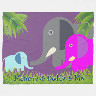 Baby Elephant | Parents Happy and Smiling Monogram Fleece Blanket