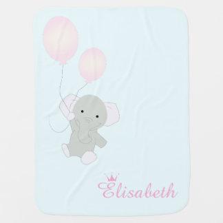 Baby Elephant Personalized Girl's Baby Blanket