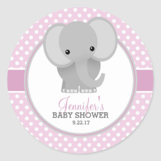 Baby Elephant (pink) Baby Shower Round Sticker