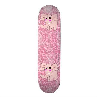 Baby Elephant Pink Damask 20 Cm Skateboard Deck