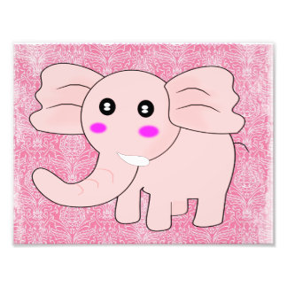 Baby Elephant Pink Damask Photo Print