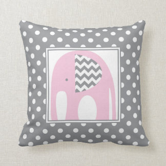 Baby Elephant | Pink & Gray Chevron Polka Dots Cushion