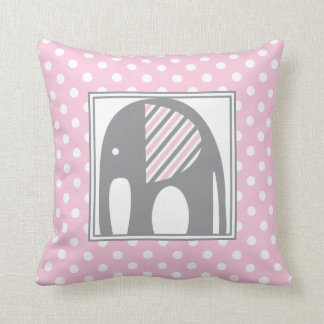 Baby Elephant | Pink & Gray Polka Dots Stripes Cushion
