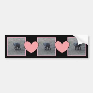 Baby Elephant & Pink Hearts Bumper Sticker -B