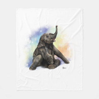 Baby Elephant Playing Fleece Blanket