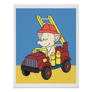 Baby elephant riding a fire engine Poster