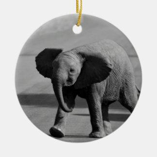 Baby elephant round ceramic decoration
