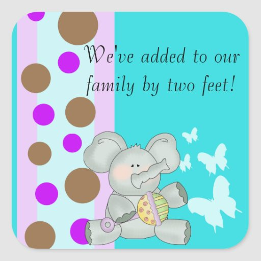 Baby Elephant Teal Brown and Purple Square Sticker