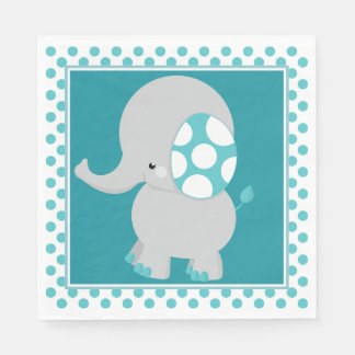 Baby Elephant | Teal Polka Dots | Disposable Serviette