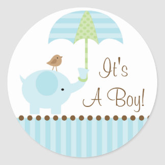 Baby Elephant Umbrella It's A Boy Sticker