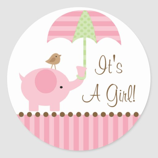 Baby Elephant Umbrella It's A Girl Sticker | Zazzle
