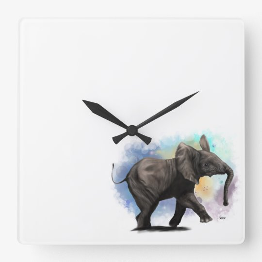 Baby Elephant Walking Wall Clock