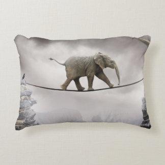 Baby Elephant Walks The Tightrope Decorative Cushion