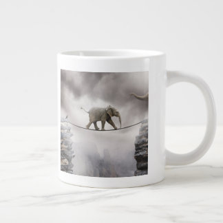 Baby Elephant Walks The Tightrope Large Coffee Mug