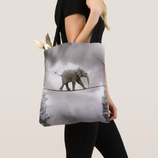 Baby Elephant Walks The Tightrope Tote Bag