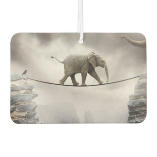 Baby elephant walks tightrope across big gorge. car air freshener