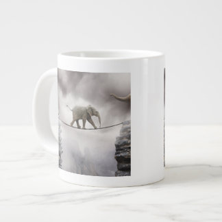 Baby elephant walks tightrope across big gorge. giant coffee mug