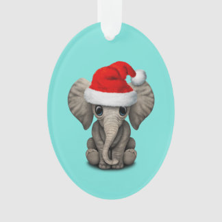 Baby Elephant Wearing a Santa Hat Ornament