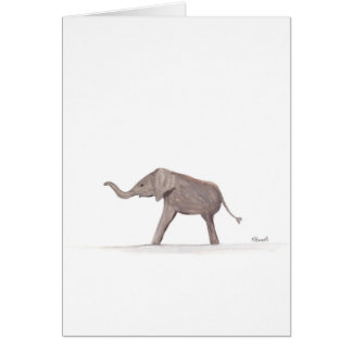 Baby elephant wild animal nursery art card