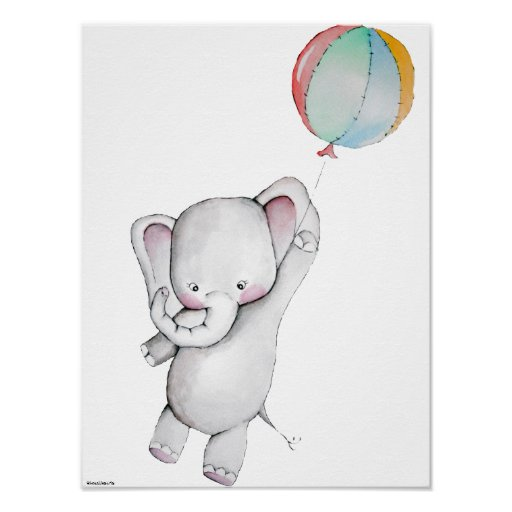 Baby Elephant with Balloon Customisable Poster