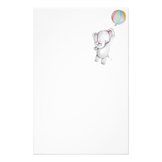 Baby Elephant with Balloon Stationery