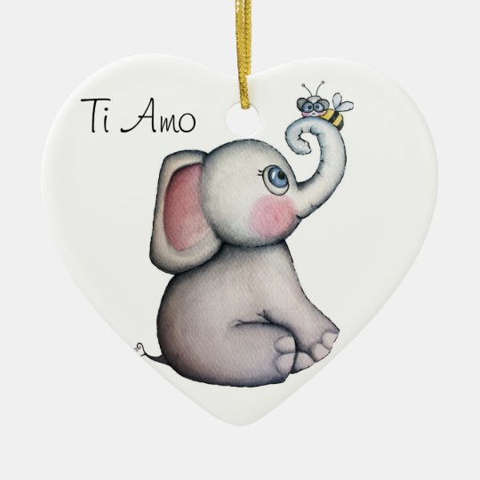 Baby Elephant with Bee Ornament white Background