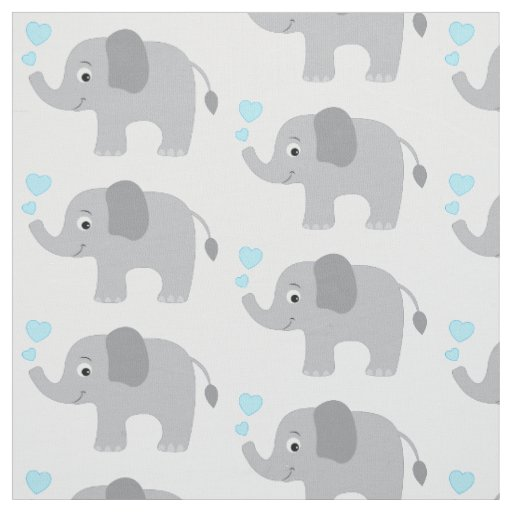 Baby Elephant with Blue Hearts Fabric