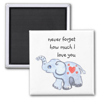 Baby elephant with love hearts square magnet