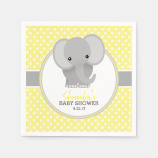 Baby Elephant (yellow) Baby Shower Disposable Serviette