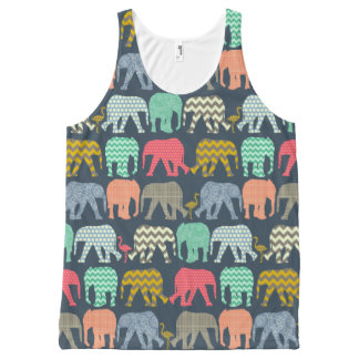 baby elephants and flamingos All-Over print tank top