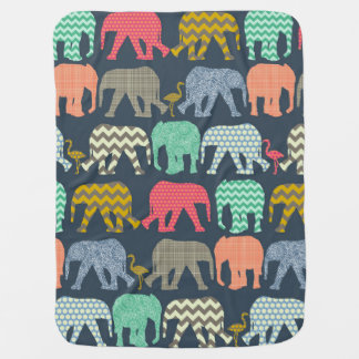 baby elephants and flamingos baby blanket