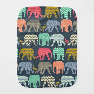 baby elephants and flamingos burp cloth
