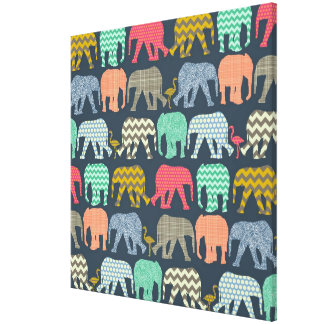 baby elephants and flamingos canvas print