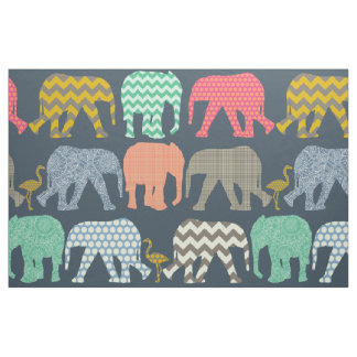 baby elephants and flamingos fabric