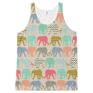 baby elephants and flamingos linen All-Over print tank top