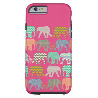 baby elephants and flamingos pink tough iPhone 6 case