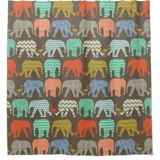 baby elephants and flamingos Savannah Shower Curtain