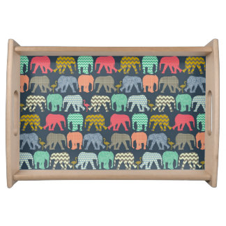 baby elephants and flamingos serving tray