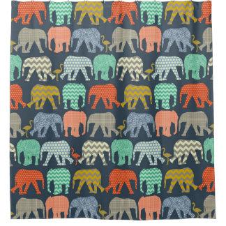 baby elephants and flamingos Sienna Shower Curtain
