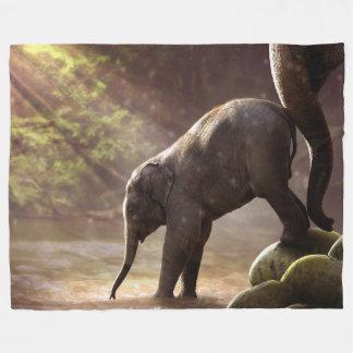 Baby Elephant's First Bath Fleece Blanket
