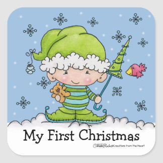 Baby Elf –Personalized !st  Christmas Square Sticker