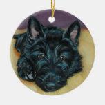 'Baby Em' - Scottie puppy Round Ceramic Decoration