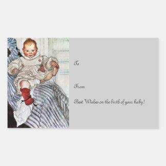 Baby Esbjorn Pulls on His Foot Rectangular Sticker